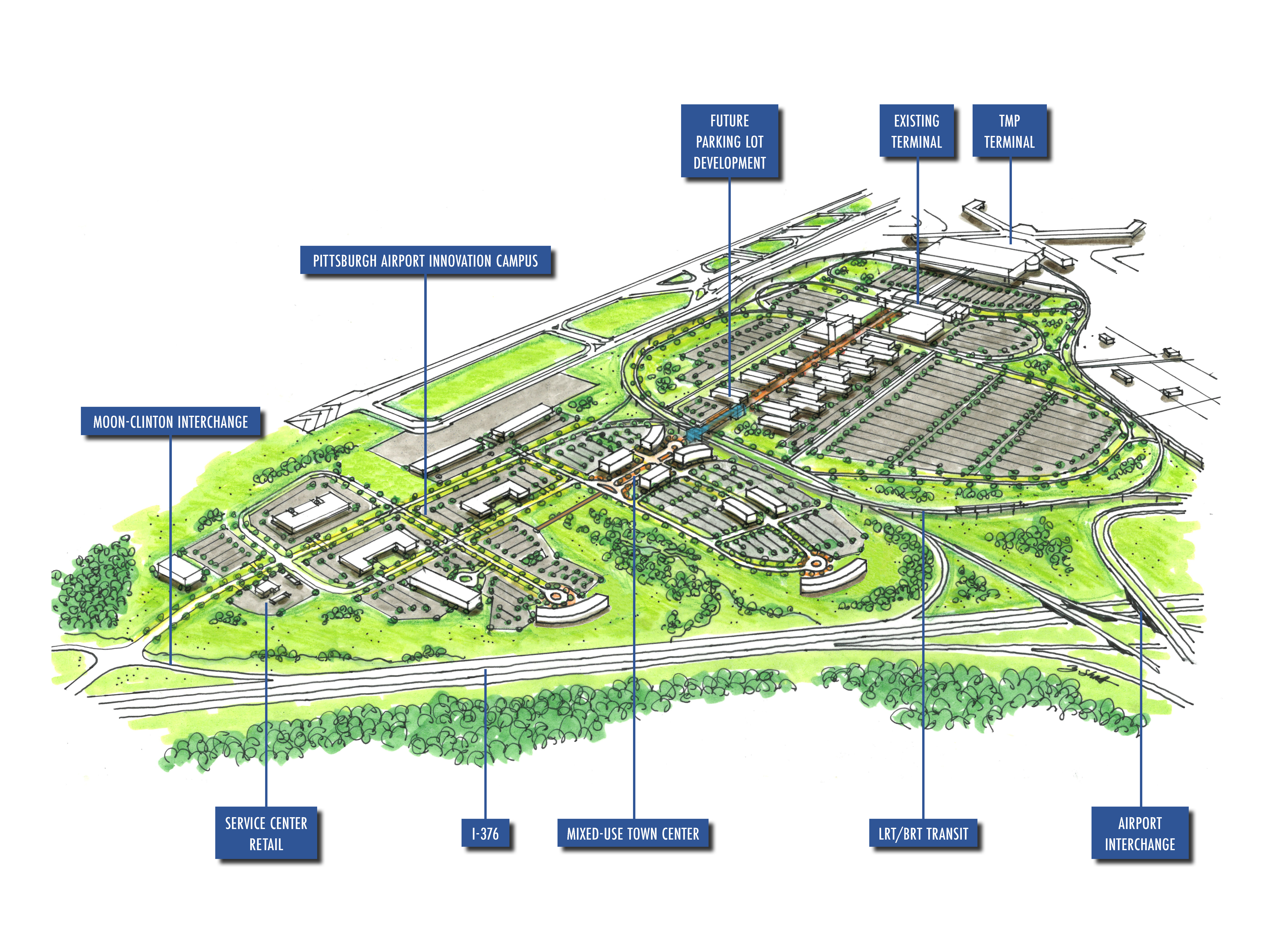 The Pittsburgh Airport Innovation Campus Is A 195 Acre Site That Will Feature Office E Research And Development Laboratories Manufacturing