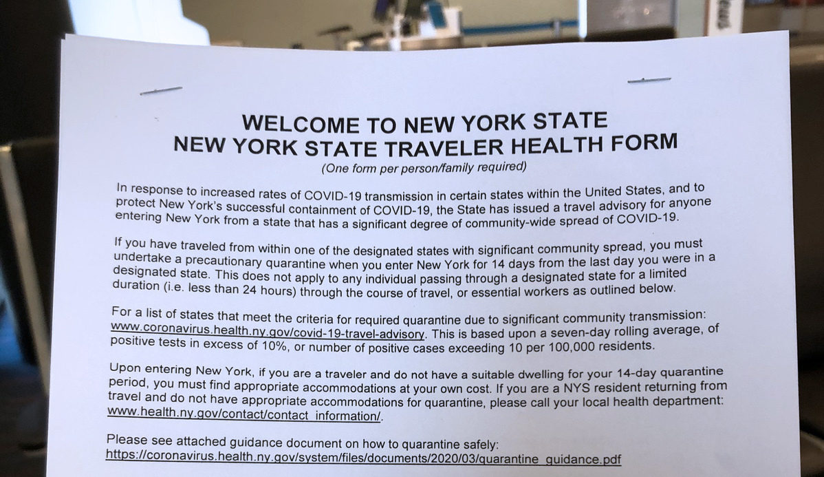 State-Mandated Traveler Forms Aim to Combat COVID Spread